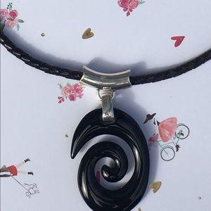 Silver 925 Black Jade Choker Necklace